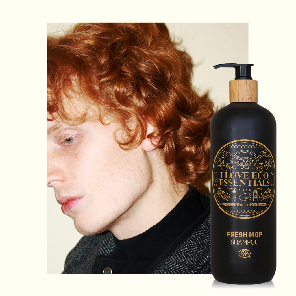 Red haired man with ILoveEcoEssentials Fresh Mop Shampoo